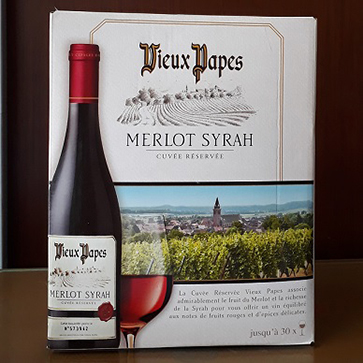 Vang Bịch Pháp Vieux Papas Merlot Shiraz
